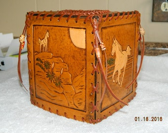 Hand Tooled Leather Kleenex Tissue Box Cover Wild Horses Stallions Mares Horse Ranch Western Boxes Cowboys Cowgirls Ranching Colts Desert