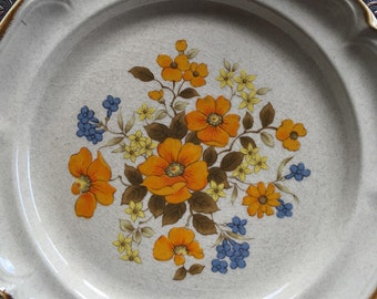 Vintage Woodbloom Dinner Plates Sunmarc International Endura Collection Stoneware SM-6667 Set of 8 Orange & Blue - #
