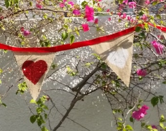 Valentine Rustic burlap heart Bunting, hung on a soft satin ribbbon