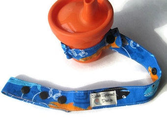 Blue Sharks TOY LEASH- Toy TETHER- Sippy Cup Saver- Bottle Leash- Sophie Leash- Sippy Cup Strap- Stroller Strap- Toy Saver- Baby Boy Gift