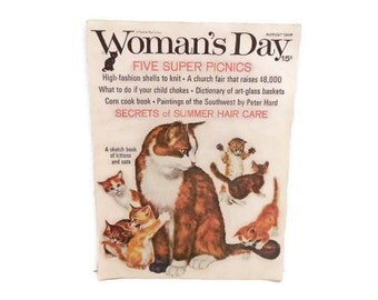 Woman's Day August 1966 Magazine, Art Glass Basket Dictionary, Kittens & Cats Illustrations, Vintage Advertising, 60's Fashion Photographs