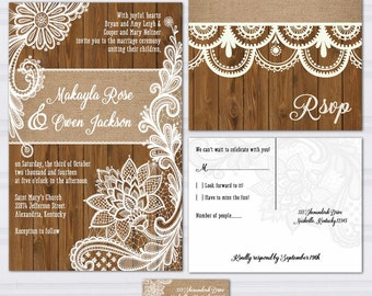 Wood Lace Wedding Invitation Suite, Burlap and Lace, Wood Panel Look Wedding Invitations, Rustic Wedding Invites, Outdoor Wedding, Country