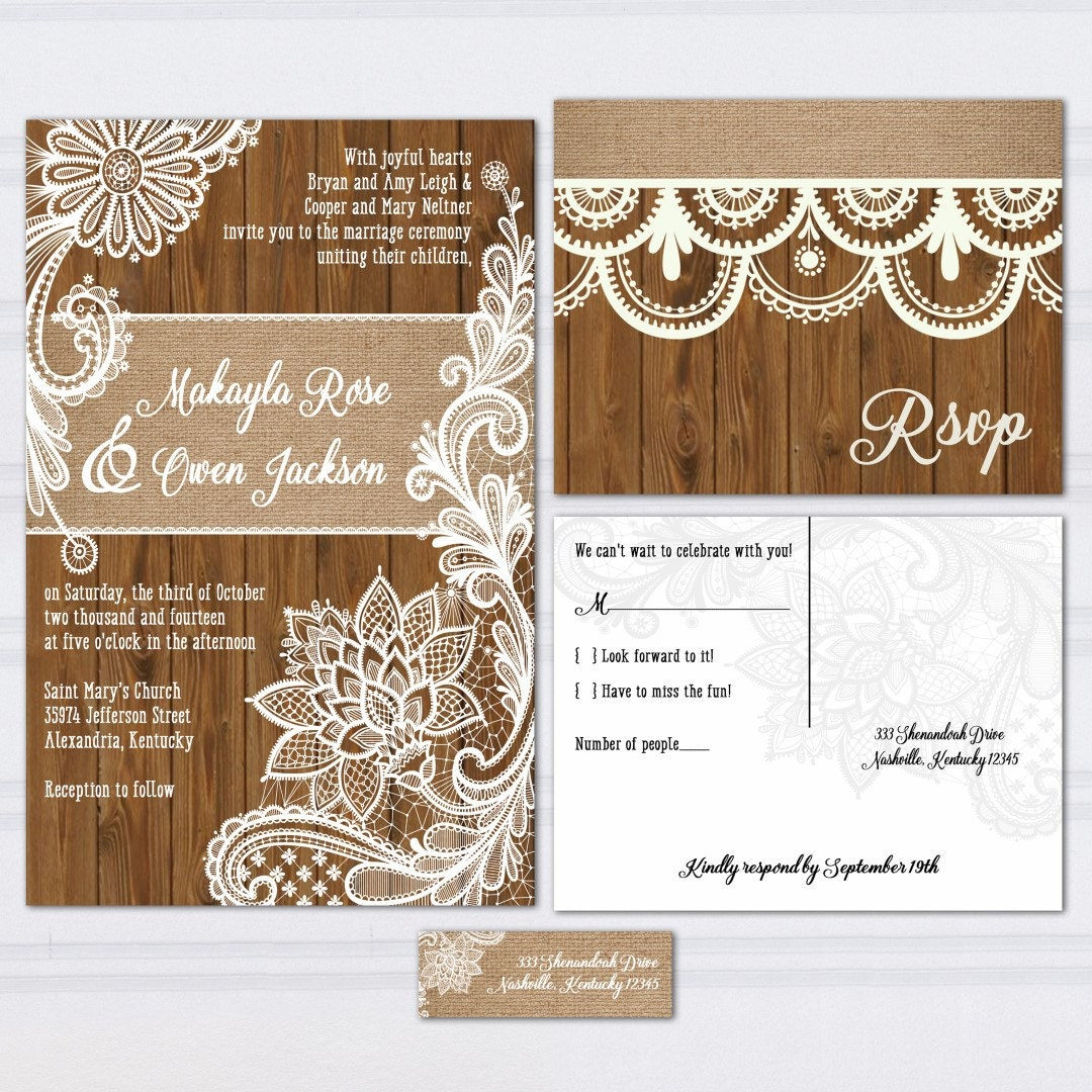 Wood Lace Wedding Invitation Suite Burlap And Lace Wood