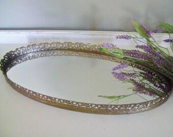 Vintage Large Vanity Mirror Tray, Aged Patina, Floral Design, Gold Tone Filigree