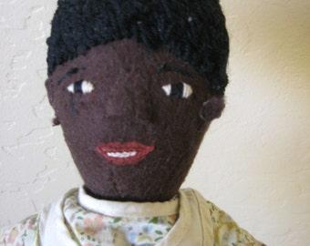 1920's Vintage Black Felt Ethnic Doll