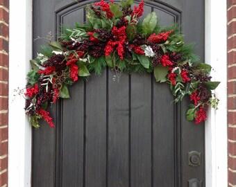Christmas Swag Arch Wreath-Winter Wreath-Mixed Red Berry-Door Wreath Decor-Artificial Floral Door Decor-Indoor-Outdoor Holiday Decoration