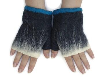 Short Felted Fingerless Gloves Fingerless Mittens Arm warmers Wristlets Merino Wool Black White Blue
