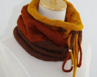 Knitted Neckwarmer Cowl Brown Copper Mustard yellow ready To Ship