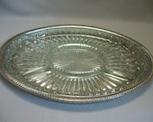 Silver Plate Oval Gallery Serving Tray Crystal Clear Rib Pattern Chip Dip Relish Tray