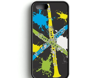Cell Phone Case, Music Cell Phone Case, Music, Clarinets, Music design Cell Phone Case with Neon Clarinets
