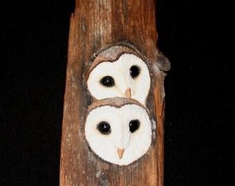 Wood Carving - Barn Owls - Original Hand Made Bird Sculpture -  Wall Art