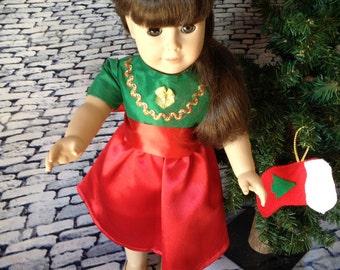 18 inch doll modeledamerican girl santa dress