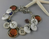 Buttons and Flowers Charm Bracelet