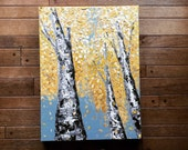 READY TO SHIP: Original Art 18x24 Yellow Fall Autumn Thanksgiving Birch Aspen Tree by MyImaginationIsYours