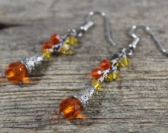 50% OFF CLEARANCE / Orange Czech Glass, Yellow Swarovski Crystal Dangle Earrings / Orange Earrings / Gifts for Her / Gifts for Women