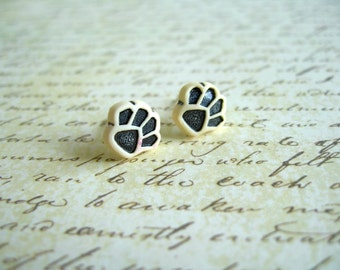Small Light Yellow Black Paw Earrings, Small Paw Jewelry, Paw Button Earrings, Paw Stud