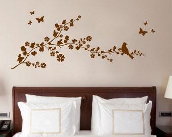 Bird on a Branch, Nature, Decorative Vinyl Wall Art Sticker Decal Mural, Bedroom, Lounge 130cm Wide x 52.4cm High