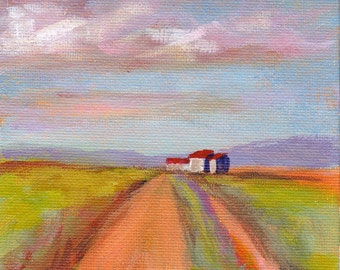 Original 5x7 Oil Painting of a Home in the Fields