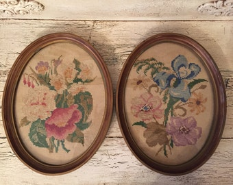 Pair of Vintage Framed Needlepoint Pictures - Floral Needlepoint with Oval Frames