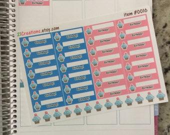 Birthday Planner Stickers - Cupcake Planner Stickers - 0016