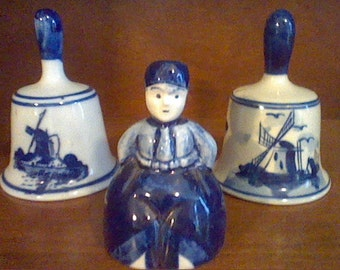 Lot of 3 blue and white bells Delft or other makers
