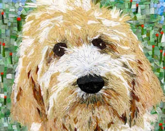 Stained Glass Mosaic Dog Portrait Goldendoodle Poodle Labradoodle Any Breed Dog, Cat other Animal - Custom Order b