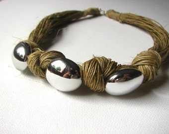 Silver  Beads - linen organic necklace