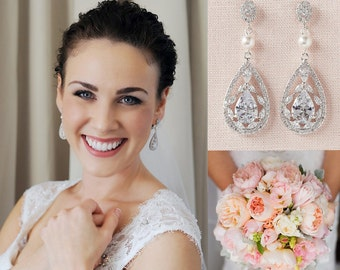 Bridal Earrings,  Crystal wedding earrings, Swarovski Bridal Jewelry,  Bridesmaids, Adison Bridal Earrings