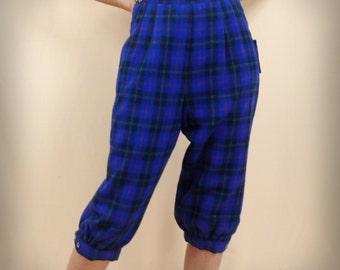 Blue Plaid Wool Knickers * Golf Knickers * Blue Knickers * Wool Capris * David Smith * Wool Pants * Blue and Black Plaid * NWT