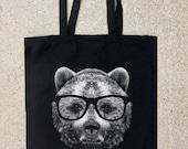 Tote Bag - Wise Bear - Black Cotton Canvas