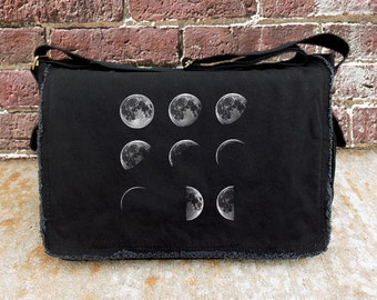 Screen Printed Messenger Bag - Phases of the Moon