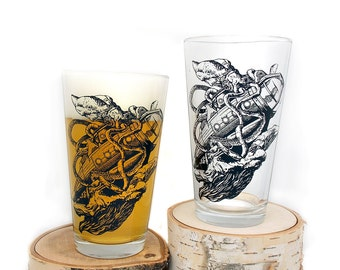 Kraken Vs. Submarine Pint Glasses- Retro Comic Illustration - Set of two 16oz. Pint Glasses