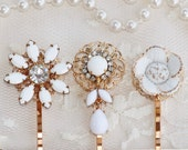Vintage Milk Glass Jeweled Bobby Pins,Bridal Hair Pins,Vintage Milk Glass Earrings & Brooches,Bridesmaids,Something Old,Gold and White,Set