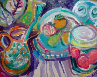 "ORIGINAL OIL PAINTING, ""pomegranates and persimmons'',home decor, Mediterranean, oils on paper"