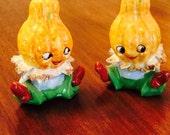 Vintage Anthropomorphic Pumpkin Squash Gourd Head Thanksgiving Fall Salt and Pepper Shakers Ceramic Japan 1950s