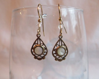 Gold Earrings with Pearl and Crystal Bicone, Earrings, Pearl, Crystal, Dangling