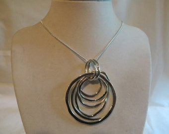 "18"" Silver Circles Necklace, necklace, circles, silver,"