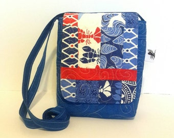 Quilted Cotton Cross Body Bag in Blue Nautical Prints Quilted Handbag