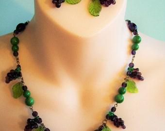 Vintage 1940s 1950s Czech Glass Fruit Necklace/Earrings Set - Grape