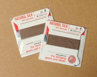 Natural Silk Cord With Needle - 2 packs - Size 4 - Beige