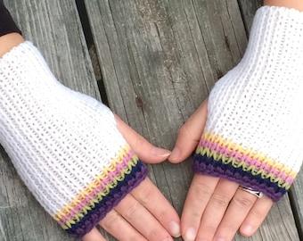 Knit Fingerless gloves, Fingerless Mittens, Hand Warmers, Texting Gloves, Rainbow