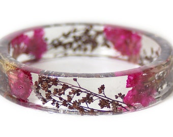 Real Flower Jewelry- Flower Jewelry- Jewelry with Real Flowers- Pink Flowers- Brown Bracelet -Resin Jewelry- Pink Bracelet