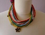 Ethnic Trade Bead Necklace + choker + pink orange green blue coins + charms  Chiapas - Highland Maya - adjustable #C