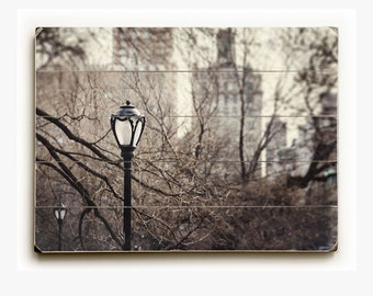 Wood Sign: Central Park Lamppost Wood Plank, New York City Photography, Upper East Side, Urban Photograph, Architecture Wood Plank.