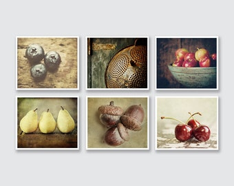 Country Kitchen Decor Set Of 6 Food Prints Or Canvas Wraps Rustic Kitchen Decor Set Farmhouse Decor Set Brown Red Rust Kitchen Art