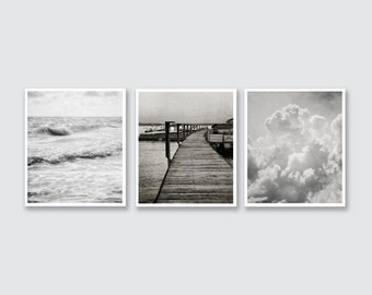 Modern Black and White Print or Canvas Wrap, Bedroom Decor Print Set, Large Vertical Print Set of 3, Contemporary Art, Black and White.