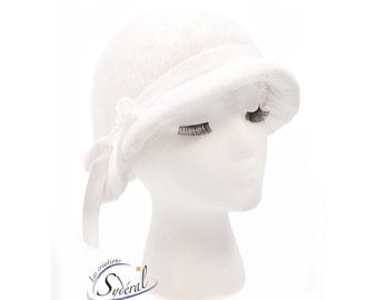 alpaca felt cloche hat, felt winter hat, cloche hat,