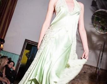 SALE 1920's Vintage Silk bias cut halter neck. Gatsby style Dress.  Mint green lace