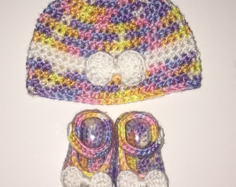 Crochet Newborn Baby Girl Bow Hat, and Mary Jane Shoes, Ombré, Ready to Ship, Free US Shipping