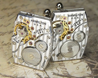 STEAMPUNK Cuff Links Cufflinks - Torch SOLDERED - Vintage Early 40s HAMILTON Watch Movements w Vertical Pin Stripes - Amazingly Elegant